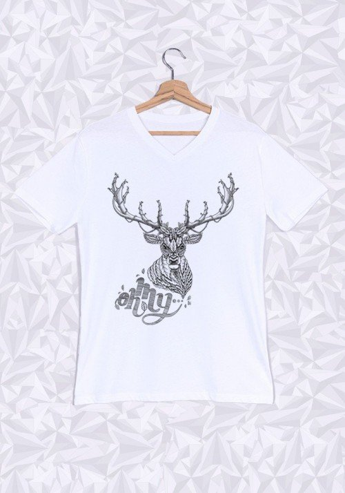 Oh My Deer T-shirt Homme Col V