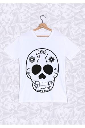 Skull Head T-shirt Homme Col V