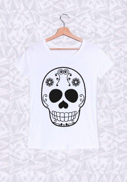 Skull Head T-shirt Femme Col Rond