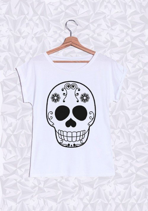 Skull Head T-shirt Femme Manches Retroussées