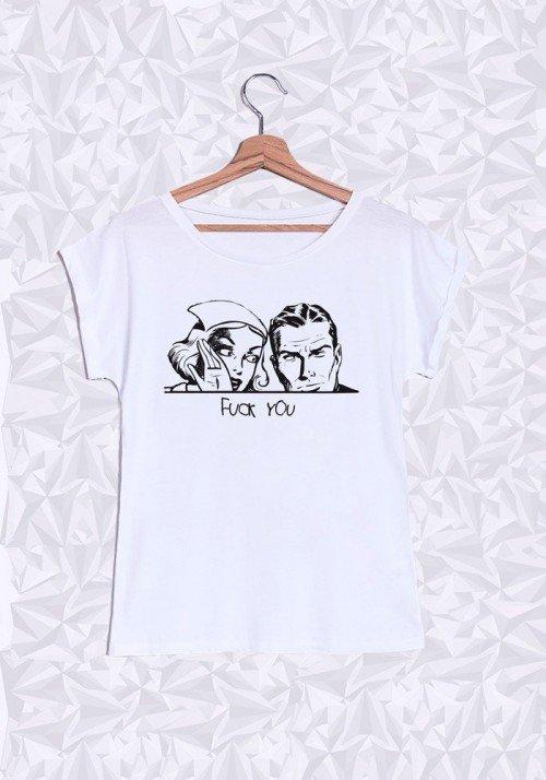 F... You T-shirt Femme Manches Retroussées