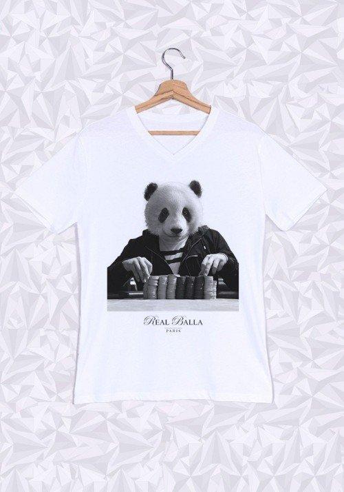Gambling Panda T-shirt Homme Col V