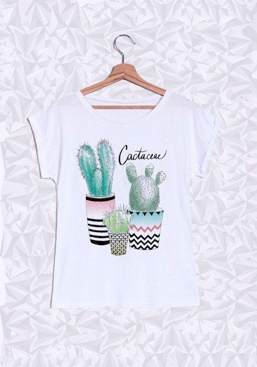 Cactus T-shirt Femme Manches Retroussées