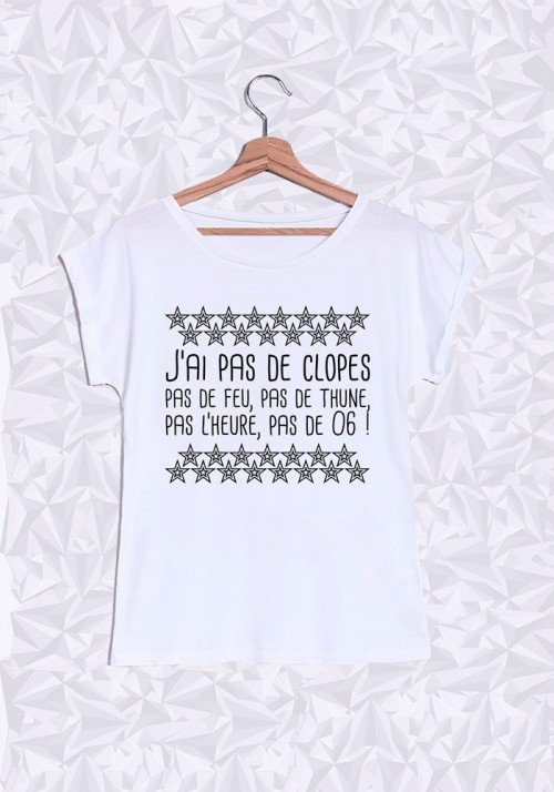 J'ai pas de Clope T-shirt Femme Manches Roulées