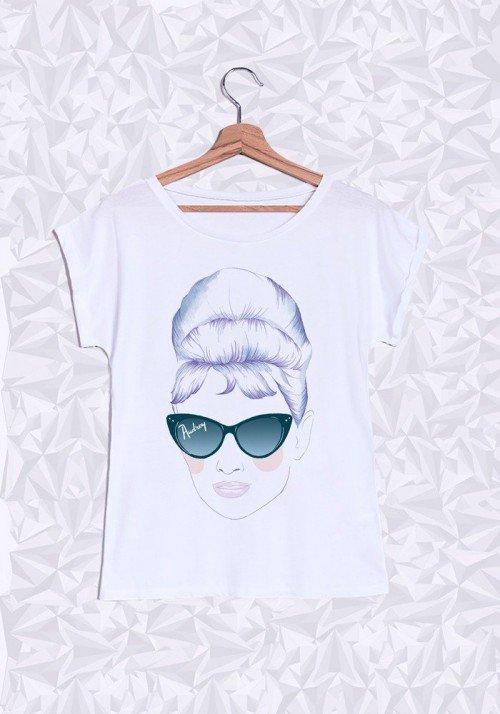 Audrey T-shirt Femme Manches Retroussées