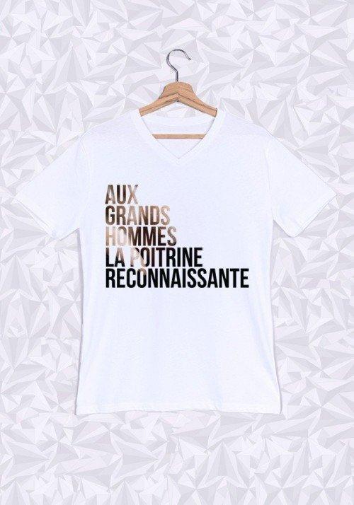 Aux Grands Hommes la Poitrine T-shirt Homme Col V