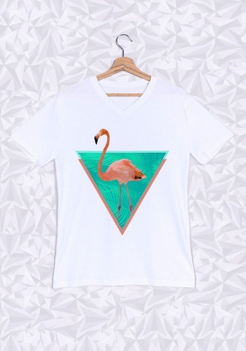 Flamand Rose T-shirt Homme Col V