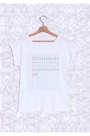 Fuck School T-shirt Femme Manches Retroussées