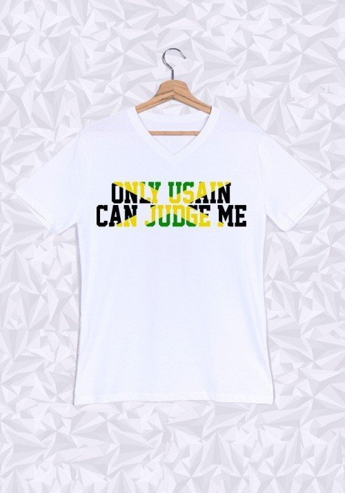 Only Usain can Judge Me T-shirt Homme Col V
