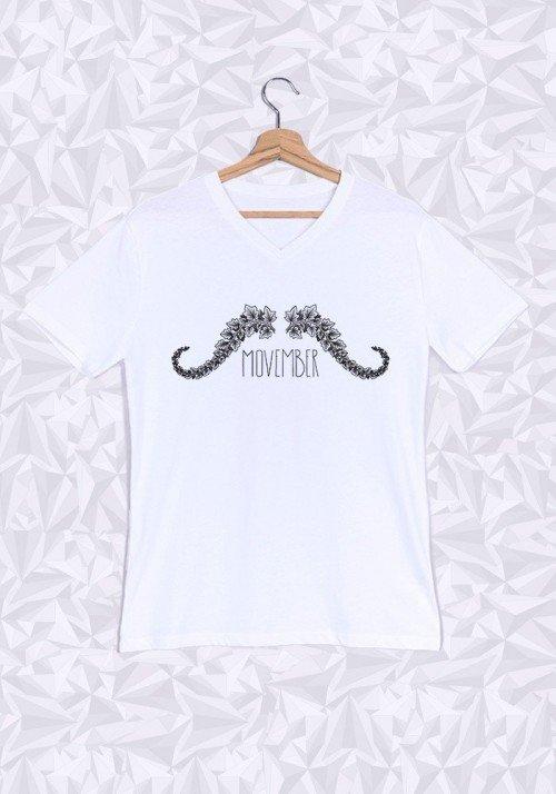 Movember T-shirt Homme Col V