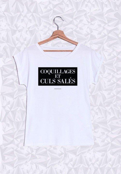 Coquillages et Culs Salés T-shirt Femme Manches Retroussées