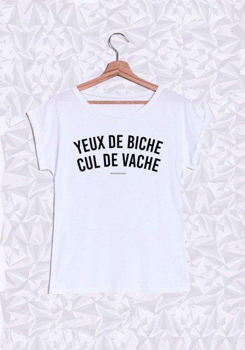 Yeux de Biche, Cul de Vache T-shirt Femme Manches Retroussées