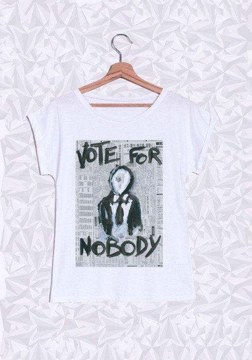 Vote For Nobody T-shirt Femme Manches Retroussées