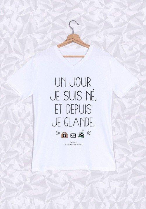 Un Jour Je Suis Né T-shirt Homme Col V