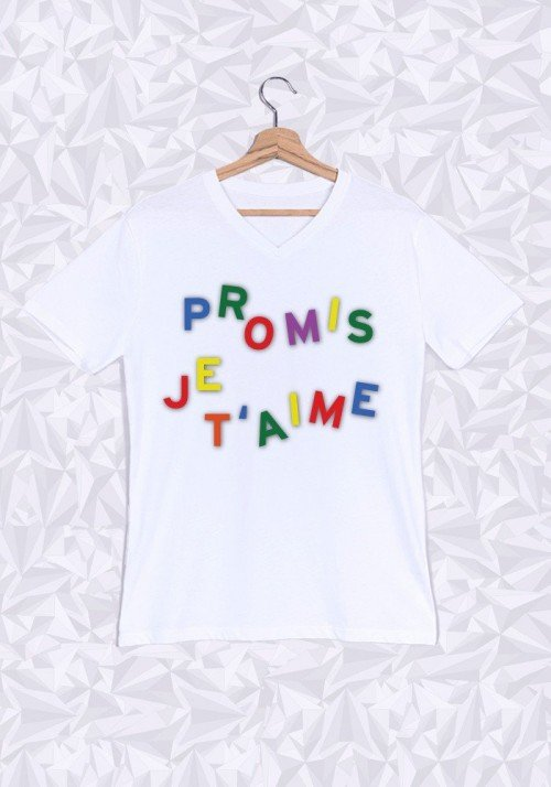Promis je t'aime T-shirt Homme Col V