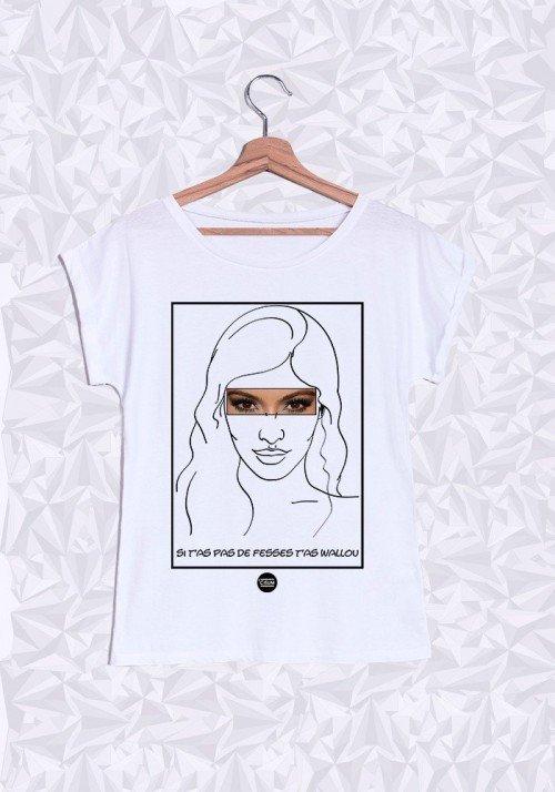 Kim Kardashian T-shirt Femme Manches Retroussées
