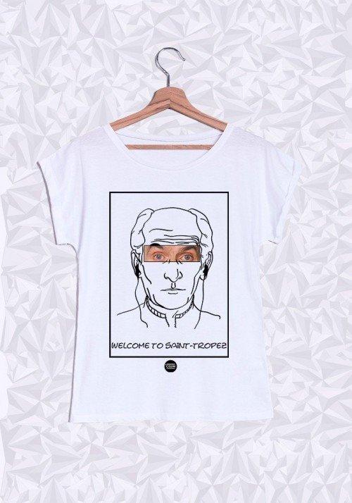 Louis De Funès T-shirt Femme Manches Retroussées