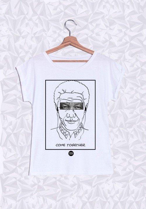 Nelson Mandela T-shirt Femme Manches Retroussées