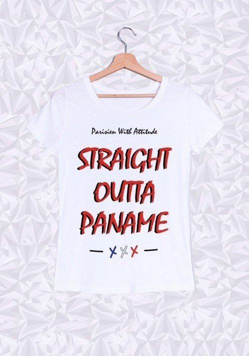 Straight Outta Paname T-shirt Femme Col Rond
