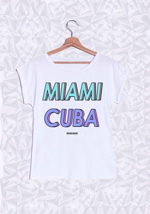 Miami Cuba T-shirt Femme Manches Retroussées