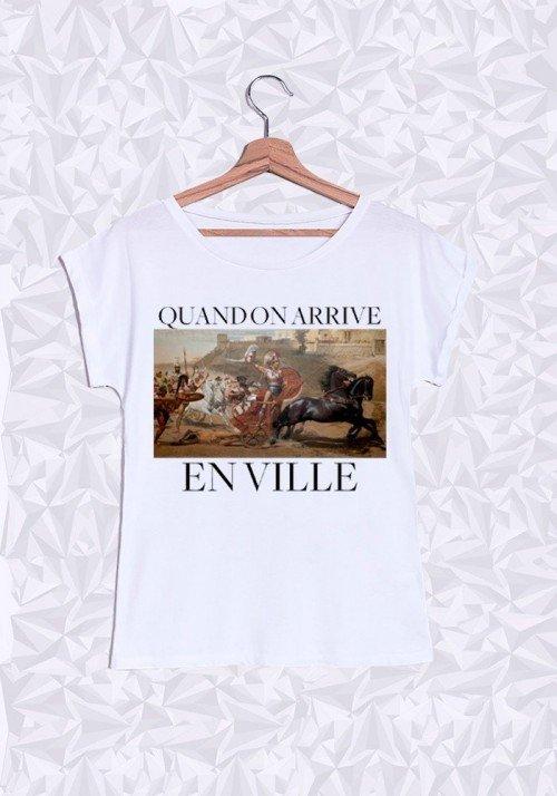 Quand on arrive en ville T-shirt Femme Manches Retroussées