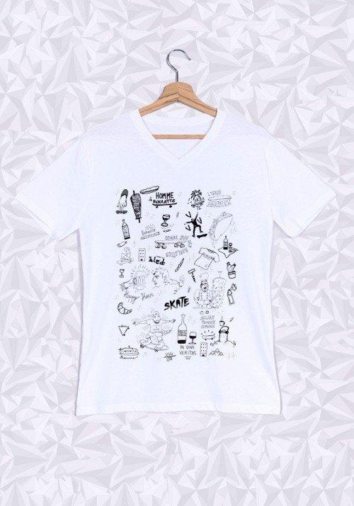 Comme Sur Des Roulettes T-shirt Homme Col V