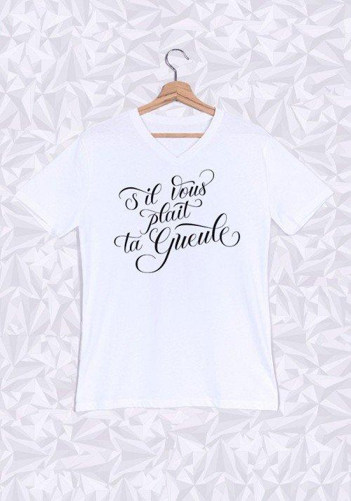 S'il Vous Plaît ta gueule T-shirt Homme Col V