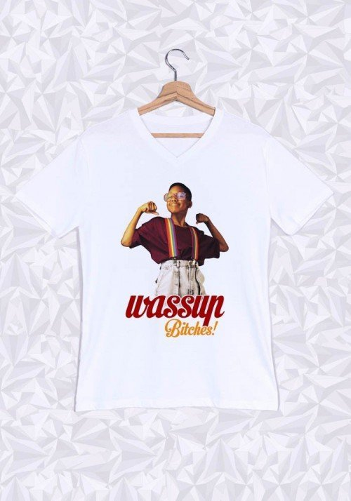 Wassup Bitches T-shirt Homme Col V