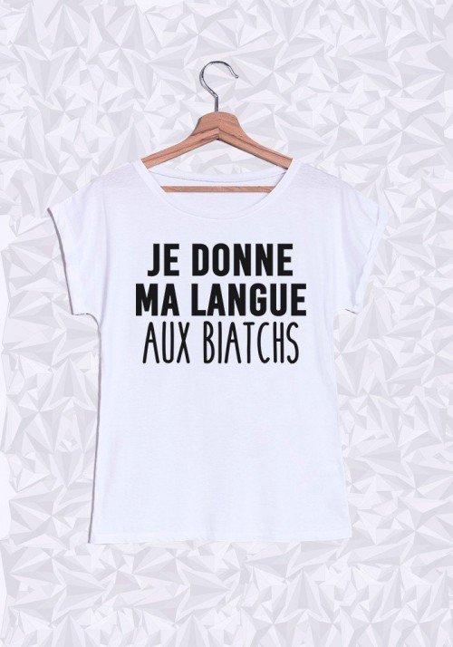 Ma langue aux biatchs T-shirt Femme Manches retroussées