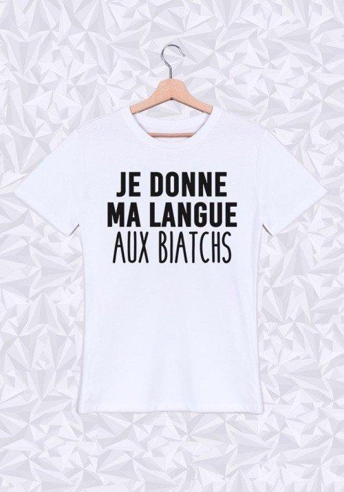 Ma langue aux biatchs T-shirt Homme Col Rond
