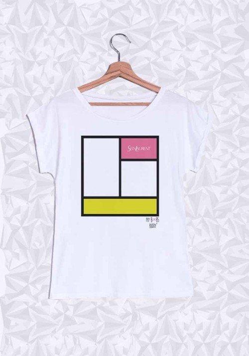 Mondrian T-shirt Femme Manches retroussées