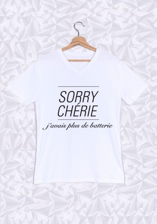 Promis Sorry Chérie T-shirt Homme Col V
